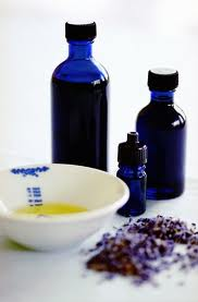 aromatherapy oils 3 blue bottles